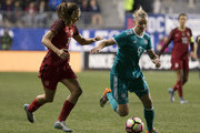 Alexandra Popp #9 of Germany controls the ball against Tobin Heath #17 of the United States of America during the SheBelieves Cup at Talen Energy Stadium on March 1, 2017 in Chester, Pennsylvania. The United States defeated Germany 1-0.