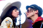 Musician Jonathan Tyler (R) performs with singer Nikki Lane (L) on the Mustang Stage during day 2 of 2017 Stagecoach California's Country Music Festival at the Empire Polo Club on April 29, 2017 in Indio, California.