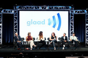 (L-R) Director of Transgender Media & Representation, GLAAD, Nick Adams, actors Alexandra Billings of 'Transparent' and 'How to Get Away with Murder' and Laverne Cox of 'Orange Is the New Black' and 'Doubt,' creator of Amazon's 'Danger & Eggs,' Shadi Petosky, creator of 'Transparent' and 'I Love Dick,' Jill Soloway, producer on 'Transparent,' Rhys Ernst speak onstage during the 'Transgender Trends on TV Today Panel' portion of the 2017 Summer Television Critics Association Press Tour at The Beverly Hilton Hotel on August 4, 2017 in Beverly Hills, California.