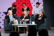 "(Top L-R) Actor Edward Holcroft, executive producer Noreen Halpern, actor Kerr Logan, (Front L-R) director Mary Harron, actress Sarah Gadon, screenwriter/producer Margaret Atwood attend ""Alias Grace"" Press Conference during the 2017 Toronto International Film Festival at TIFF Bell Lightbox on September 12, 2017 in Toronto, Canada."