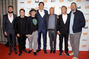 """(second L-R) Jack Heller, Tiff programmer Peter Kuplowsky, Vince Vaughn, Udo Kier, Don Johnson, and Dallas Sonnier attend the """"Brawl in Cell Block 99"""" premiere during the 2017 Toronto International Film Festival at Ryerson Theatre on September 12, 2017 in Toronto, Canada."""