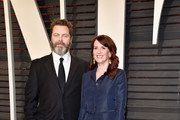 Actors Nick Offerman (L) and Megan Mullally attend the 2017 Vanity Fair Oscar Party hosted by Graydon Carter at Wallis Annenberg Center for the Performing Arts on February 26, 2017 in Beverly Hills, California.