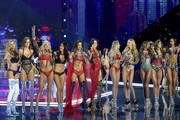 (L-R) Models Stella Maxwell, Josephine Skriver, Elsa Hosk,  Lily Aldridge, Alessandra Ambrosio, Adriana Lima, Candice Swanepoel, Romee Strijd, Jasmine Tookes, Taylor Hill and Lais Ribeiro pose on the runway during the 2017 Victoria's Secret Fashion Show In Shanghai at Mercedes-Benz Arena on November 20, 2017 in Shanghai, China.