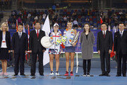 Ashleigh Barty of Australia, Caroline Garcia of France, and Li Na of China pose for a picture after the Women's Single Final match of 2017 Wuhan Open on September 30, 2017 in Wuhan, China.