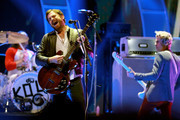 Caleb Followill (L) of music group Kings of Leon performs onstage during the 2017 iHeartRadio Music Festival at T-Mobile Arena on September 23, 2017 in Las Vegas, Nevada.