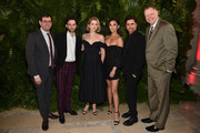 (L-R) Robert Sharenow, Penn Badgley, Elizabeth Lail, Shay Mitchell, John Stamos, and Peter Olsen attend the 2018 A+E Upfront on March 15, 2018 in New York City.
