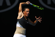 Francesca Schiavone of Italy plays a forehand in her first round match against Jelena Ostapenko of Latvia on day one of the 2018 Australian Open at Melbourne Park on January 15, 2018 in Melbourne, Australia.