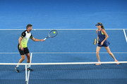 Daniela Hantuchova and Goran Ivanisevic of Croatia compete in their Legends Mixed doubles match against Mark Philippoussis of Australia and Alicia Molik of Australia on day 10 of the 2018 Australian Open at Melbourne Park on January 24, 2018 in Melbourne, Australia.