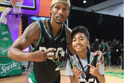 Chris Staples (L) and Miles Brown pose at the Celebrity Basketball Game Sponsored By Sprite during the 2018 BET Experience at Los Angeles Convention Center on June 23, 2018 in Los Angeles, California.