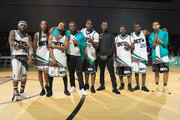 (L-R) YFN Lucci, Erica Ash, Travis Greene, Michael Dapaah, Casanova, Famous Dex, Lil Rel Howery, Rich Homie Quan, and Kap G pose and at the Celebrity Basketball Game Sponsored By Sprite during the 2018 BET Experience at Los Angeles Convention Center on June 23, 2018 in Los Angeles, California.