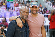 Chris Spencer (L) and Boris Kodjoe pose at the Celebrity Basketball Game Sponsored By Sprite during the 2018 BET Experience at Los Angeles Convention Center on June 23, 2018 in Los Angeles, California.