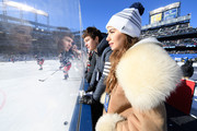 Actor Ansel Elgort and ballerina Violetta Komyshan attend the 2018 Bridgestone NHL Winter Classic between the New York Rangers and the Buffalo Sabres at Citi Field on January 1, 2018 in the Flushing neighborhood of the Queens borough of New York City.