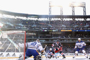 Robin Lehner #40 of the Buffalo Sabres makes the second period save on Michael Grabner #40 of the New York Rangers  during the 2018 Bridgestone NHL Winter Classic at Citi Field on January 1, 2018 in Flushing neighborhood of the Queens borough of New York City, New York.