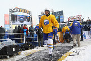 Kyle Okposo #21 of the Buffalo Sabres leaves the ice following practice at Citi Field on December 31, 2017 in the Flushing neighborhood of the Queens borough of New York City. The team will take part in the 2018 Bridgestone NHL Winter Classic on New Years Day.