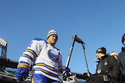 Kyle Okposo #21 of the Buffalo Sabres heads out for practice at Citi Field on December 31, 2017 in the Flushing neighborhood of the Queens borough of New York City. The team will take part in the 2018 Bridgestone NHL Winter Classic on New Years Day.