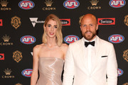 Jerri Jones and Nathan Jones of the Demons arrive ahead of the 2018 Brownlow Medal at Crown Entertainment Complex on September 24, 2018 in Melbourne, Australia.