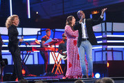 (L-R) Tori Kelly, Hillary Scott, and Kirk Franklin onstage during the 2018 CMT Artists of The Year at Schermerhorn Symphony Center on October 17, 2018 in Nashville, Tennessee.