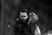 Image was converted to black and white.) Marilyn Manson (L) and Yoshiki of X Japan perform onstage during the 2018 Coachella Valley Music And Arts Festival at the Empire Polo Field on April 21, 2018 in Indio, California.