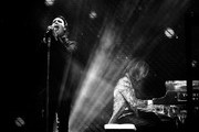 This image has been converted to black and white.)  Marilyn Manson (L) and Yoshiki of X Japan perform onstage during the 2018 Coachella Valley Music And Arts Festival at the Empire Polo Field on April 21, 2018 in Indio, California.
