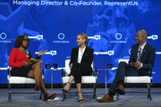 (L-R) Editor-at-Large for O Magazine and Co-Anchor at CBS This Morning Gayle King, Actor and Board Member of RepresentUs Jennifer Lawrence and  Managing Director and Co-Founder of RepresentUs Joshua Graham Lynn speak onstage during the 2018 Concordia Annual Summit - Day 2 at Grand Hyatt New York on September 25, 2018 in New York City.