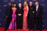 LeVar Burton, Sonequa Martin-Green, Walter Koenig, Jeri Ryan, Alex Kurtzman and William Shatner, poses in the press room at the 2018 Creative Arts Emmy Awards at Microsoft Theater on September 8, 2018 in Los Angeles, California.