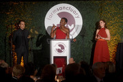 (L-R) Michael C. Hall, Tracye McQuirter and Emily Deschanel appear onstage during the 2018 Farm Sanctuary on the Hudson gala at Pier 60 on October 4, 2018 in New York City.
