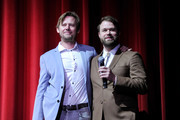 Retransmission with alternate crop.) Jimmi Simpson (L) and Daniel Stessen attends Adult Swim's DREAM CORP LLC Season 2 Premiere at Ace Hotel on October 17, 2018 in Los Angeles, California.