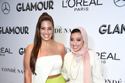 Ashley Graham (L) and Noor Tagouri attends the 2018 Glamour Women Of The Year Awards: Women Rise on November 12, 2018 in New York City.