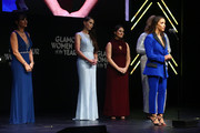 (L-R) Rosemarie Aquilina, Rachael Denhollander, Andrea Munford and Aly Raisman speak onstage at the 2018 Glamour Women Of The Year Awards: Women Rise on November 12, 2018 in New York City.
