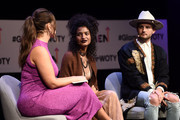 (L-R) Ashley Graham, Indya Moore, Nico Tortorella speak onstage during panel at 2018 Glamour Women Of The Year Summit:  Women Rise at Spring Studios on November 11, 2018 in New York City.