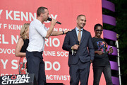 (L-R) Chris Martin, Kerry Kennedy, Ismael Nazario, and Nancy Sicardo speak onstage during the 2018 Global Citizen Festival: Be The Generation in Central Park on September 29, 2018 in New York City.