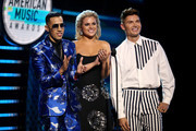 (L-R) Brytiago, Isabella Castillo, and Christian Acosta speak onstage during the 2018 Latin American Music Awards at Dolby Theatre on October 25, 2018 in Hollywood, California.