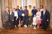Hyukbum Kwon, a guest, Cedric Tovar, Nick Kyrgios, Serena Williams, Venus Williams, Alexander Zverev, Rafael Nadal, Becky Hubbard, Mischa Zverrv and David Shenman attend 2018 Lotte New York Palace Invitational on August 23, 2018 in New York City.