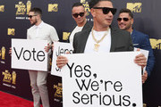 (L-R) TV personalities Vinny Guadagnino, Mike Sorrentino aka The Situation, Ronnie Ortiz-Magro and Paul DelVecchio aka DJ Pauly D attend the 2018 MTV Movie And TV Awards at Barker Hangar on June 16, 2018 in Santa Monica, California.