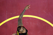 Stephen Curry #30 of the Golden State Warriors and LeBron James #23 of the Cleveland Cavaliers reaches for a rebound in the first quarter during Game Three of the 2018 NBA Finals at Quicken Loans Arena on June 6, 2018 in Cleveland, Ohio. NOTE TO USER: User expressly acknowledges and agrees that, by downloading and or using this photograph, User is consenting to the terms and conditions of the Getty Images License Agreement.