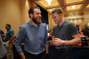 (l-r) Ryan O'Reilly and Nathan MacKinnon share a laugh during the 2018 NHL Awards nominee media availability at the Encore Las Vegas on June 19, 2018 in Las Vegas, Nevada.