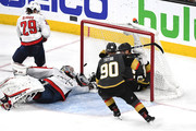 David Perron #57 of the Vegas Golden Knights scores a second-period goal past Braden Holtby #70 of the Washington Capitals in Game Five of the 2018 NHL Stanley Cup Final at T-Mobile Arena on June 7, 2018 in Las Vegas, Nevada.