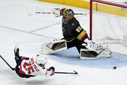 Devante Smith-Pelly #25 of the Washington Capitals scores a third-period goal against Marc-Andre Fleury #29 of the Vegas Golden Knights in Game Five of the 2018 NHL Stanley Cup Final at T-Mobile Arena on June 7, 2018 in Las Vegas, Nevada. The Capitals defeated the Golden Knights 4-3.