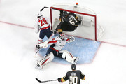 David Perron #57 of the Vegas Golden Knights scores a second-period goal past Braden Holtby #70 of the Washington Capitals as Christian Djoos #29 defends in Game Five of the 2018 NHL Stanley Cup Final at T-Mobile Arena on June 7, 2018 in Las Vegas, Nevada.