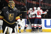 Marc-Andre Fleury #29 of the Vegas Golden Knights reacts as Devante Smith-Pelly #25 of the Washington Capitals is congratulated by his teammates after scoring a third-period goal in Game Five of the 2018 NHL Stanley Cup Final at T-Mobile Arena on June 7, 2018 in Las Vegas, Nevada.