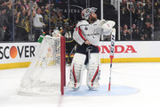 Braden Holtby #70 of the Washington Capitals reacts after allowing a third-period goal to Tomas Nosek #92 of the Vegas Golden in Game One of the 2018 NHL Stanley Cup Final at T-Mobile Arena on May 28, 2018 in Las Vegas, Nevada.