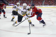 David Perron #57 of the Vegas Golden Knights skates against Lars Eller #20 of the Washington Capitals in Game Three of the 2018 NHL Stanley Cup Final at Capital One Arena on June 2, 2018 in Washington, DC.