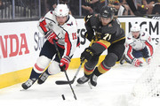 Nicklas Backstrom #19 of the Washington Capitals and William Karlsson #71 of the Vegas Golden Knights battle for the puck during the first period in Game Two of the 2018 NHL Stanley Cup Final at T-Mobile Arena on May 30, 2018 in Las Vegas, Nevada.