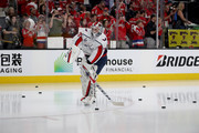Braden Holtby #70 of the Washington Capitals skates in warm-ups prior to Game Two of the 2018 NHL Stanley Cup Final against the Vegas Golden Knights at T-Mobile Arena on May 30, 2018 in Las Vegas, Nevada.