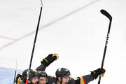 James Neal #18 of the Vegas Golden Knights is congratulated by his teammates Erik Haula #56 and David Perron #57 after scoring a first-period goal against the Washington Capitals in Game Two of the 2018 NHL Stanley Cup Final at T-Mobile Arena on May 30, 2018 in Las Vegas, Nevada.