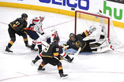 Marc-Andre Fleury #29 of the Vegas Golden Knights defends a shot from T.J. Oshie #77 of the Washington Capitals during the first period in Game Two of the 2018 NHL Stanley Cup Final at T-Mobile Arena on May 30, 2018 in Las Vegas, Nevada.