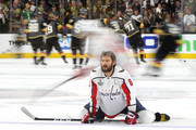 Alex Ovechkin #8 of the Washington Capitals skates in warm-ups prior to the game against the Vegas Golden Knights in Game Two of the 2018 NHL Stanley Cup Final at T-Mobile Arena on May 30, 2018 in Las Vegas, Nevada.
