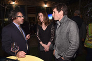 """(L-R) Showrunner and Executive Producer Ken Biller of """"Genius: Picasso"""", EVP of Scripted Programming at National Geographic Global Networks Carolyn Bernstein and 2018 National Geographic Adventurer of the Year Alex Honnold of """"Free Solo"""" attend National Geographic's FURTHER Front immersive experience where the network took over a SoHo townhouse to unveil their upfront 2018-2019 slate on April 18, 2018 in New York City."""