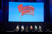 Jordan Blum, Parker Deay, Rachael MacFarlane, Wendy Schaal, Dee Bradley Baker, and Curtis Armstrong speak onstage at the American Dad! panel during 2018 New York Comic Con at  on October 6, 2018 in New York City.