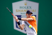 Kyle Edmund of Great Britain returns a shot to Andreas Seppi of Italy during the Second Round match  of Men's Single match in 2018 Rolex Shanghai Masters at Qi Zhong Tennis Centre on October 10, 2018 in Shanghai, China.